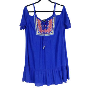 AUW Blue Cold Shoulder Embroidered Shift Dress